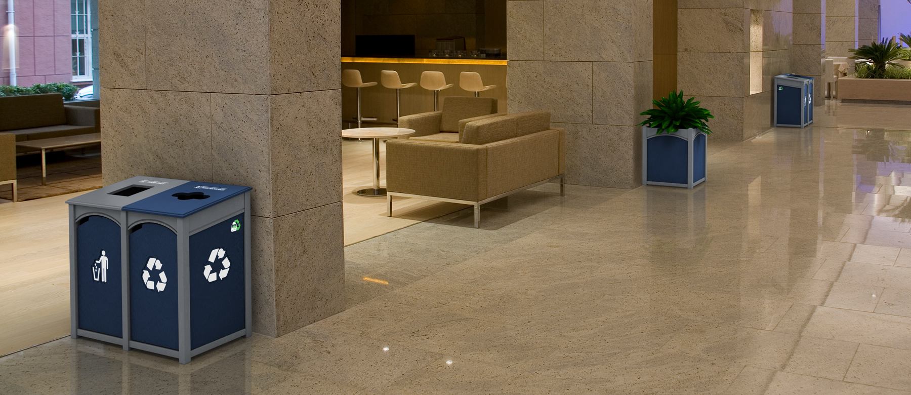 coordinated facilities start with Nex Terra site furnishings. Nex Terra   Custom configured waste and recycling solutions